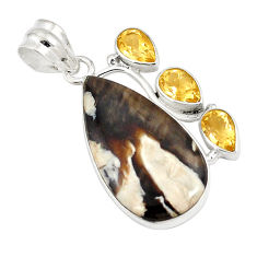 Natural brown peanut petrified wood fossil citrine 925 silver pendant d21050