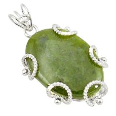 Natural green vasonite 925 sterling silver pendant jewelry d21057