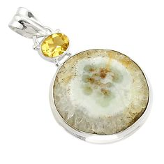 925 sterling silver natural white solar eye citrine pendant jewelry d21124
