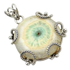 Natural white solar eye 925 sterling silver pendant jewelry d21125