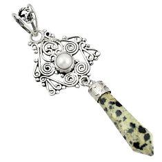 Natural brown dalmatian pearl 925 sterling silver pendant jewelry d21392