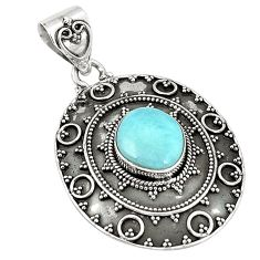 Natural blue larimar fancy 925 sterling silver pendant jewelry d21508