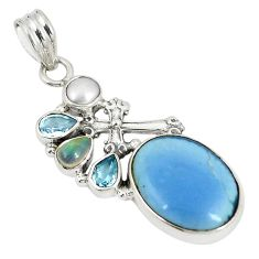 Natural blue owyhee opal moonstone 925 sterling silver pendant d22947