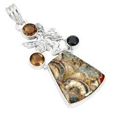 Natural brown mushroom rhyolite smoky topaz 925 silver pendant d22948