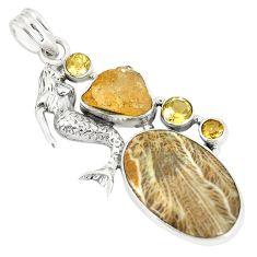 Natural brown mushroom rhyolite 925 silver fairy mermaid pendant d22951