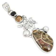 Natural fossil coral petoskey stone 925 silver angel wings fairy pendant d22957