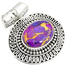 925 sterling silver purple copper turquoise oval shape pendant jewelry d24185