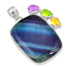 Natural multi color fluorite amethyst 925 sterling silver pendant d24481