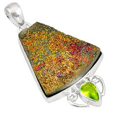 Titanium druzy green peridot 925 sterling silver pendant jewelry d24650