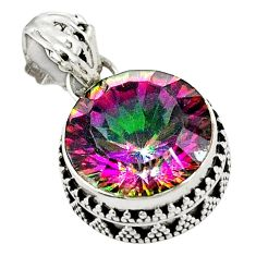 Multi color rainbow topaz 925 sterling silver pendant jewelry d25945