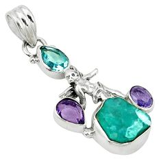 Clearance Sale- Blue apatite rough amethyst topaz 925 silver cupid angel wings pendant d2692