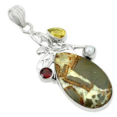 Clearance Sale- Natural brown septarian gonads pearl 925 silver angel wings fairy pendant d2794