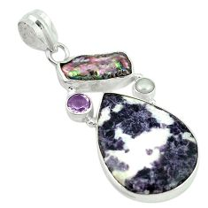 Natural purple chevron amethyst biwa pearl 925 sterling silver pendant d2897