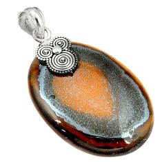 Clearance Sale- Natural brown tiger's hawks eye 925 sterling silver pendant jewelry d2949