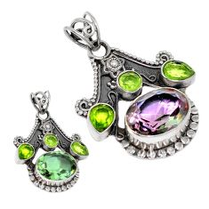Green alexandrite (lab) peridot 925 sterling silver pendant jewelry d3761