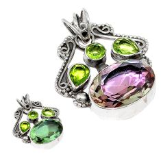 Green alexandrite (lab) peridot 925 sterling silver pendant jewelry d3762