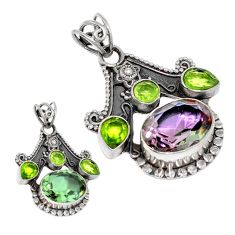 Natural green alexandrite (lab) peridot 925 silver pendant jewelry d3763