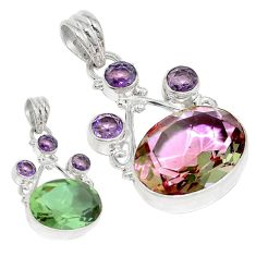 925 sterling silver green alexandrite (lab) purple amethyst pendant d3764
