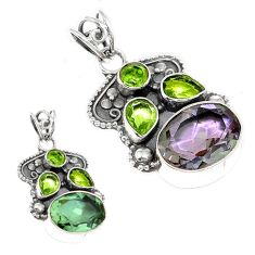 Green alexandrite (lab) peridot 925 sterling silver pendant jewelry d3765