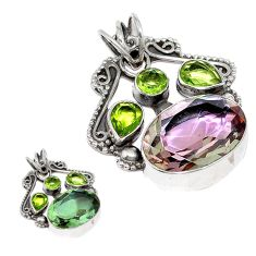Green alexandrite (lab) peridot 925 sterling silver pendant jewelry d3770