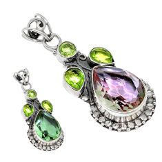Green alexandrite (lab) peridot 925 sterling silver pendant jewelry d3771