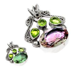 Green alexandrite (lab) peridot 925 sterling silver pendant jewelry d3772
