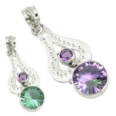 Purple alexandrite (lab) amethyst 925 sterling silver pendant jewelry d4035