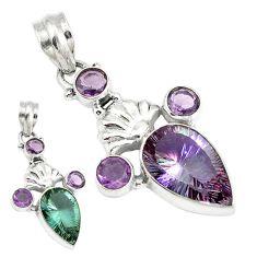 Purple alexandrite (lab) amethyst 925 sterling silver pendant jewelry d4036