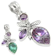 Purple alexandrite (lab) amethyst 925 silver dragonfly pendant jewelry d4039