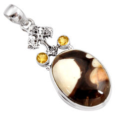 Clearance Sale- 21.48cts natural peanut petrified wood fossil 925 silver cross pendant d41374
