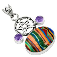 Natural multi color rainbow calsilica 925 silver star of david pendant d5268