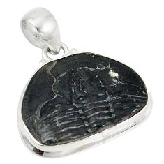 Natural black trilobite fancy 925 sterling silver pendant jewelry d5857