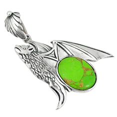 Clearance Sale- Green copper turquoise 925 sterling silver bat charm pendant jewelry d5902