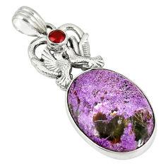 Clearance Sale- Natural purple purpurite red garnet 925 silver love birds pendant jewelry d6186