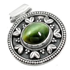 925 sterling silver green cats eye oval shape pendant jewelry d7240