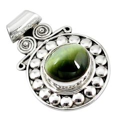Green cats eye oval shape 925 sterling silver pendant jewelry d7267