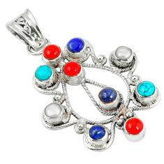 Clearance Sale- 925 sterling silver southwestern fine blue turquoise coral pearl pendant d7284