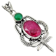 Clearance Sale- 925 silver red ruby green emerald quartz dragonfly pendant jewelry d7629