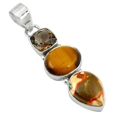 Natural pink birds eye tiger's eye 925 sterling silver pendant jewelry d7778