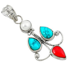 Clearance Sale- 925 silver southwestern natural green turquoise tibetan pearl pendant d8217