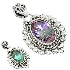 925 sterling silver purple alexandrite (lab) oval pendant jewelry d8280