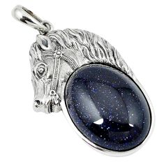 925 sterling silver natural blue goldstone horse pendant jewelry d9185