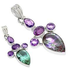 Purple alexandrite (lab) amethyst 925 sterling silver pendant jewelry d9279