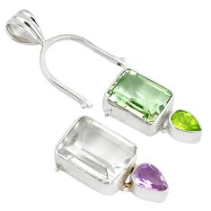 Changeabale natural white topaz amethyst 925 silver pendant jewelry d9286