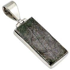 Metalic gun metal baguette 925 sterling silver pendant jewelry j23419