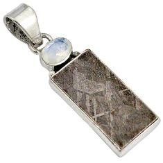 Metalic gun metal moonstone 925 sterling silver pendant jewelry j23420