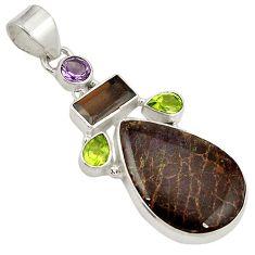 Green matrix opal smoky topaz peridot 925 sterling silver pendant jewelry j24530