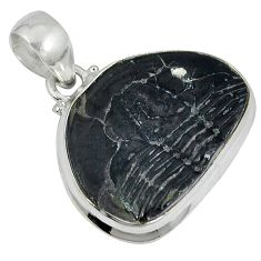 Natural black trilobite fancy shape 925 sterling silver pendant jewelry j27106