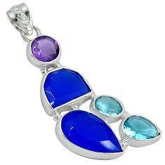 Blue jade topaz quartz amethyst 925 sterling silver pendant jewelry j27802