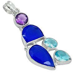 925 sterling silver blue jade topaz quartz amethyst pendant jewelry j27803